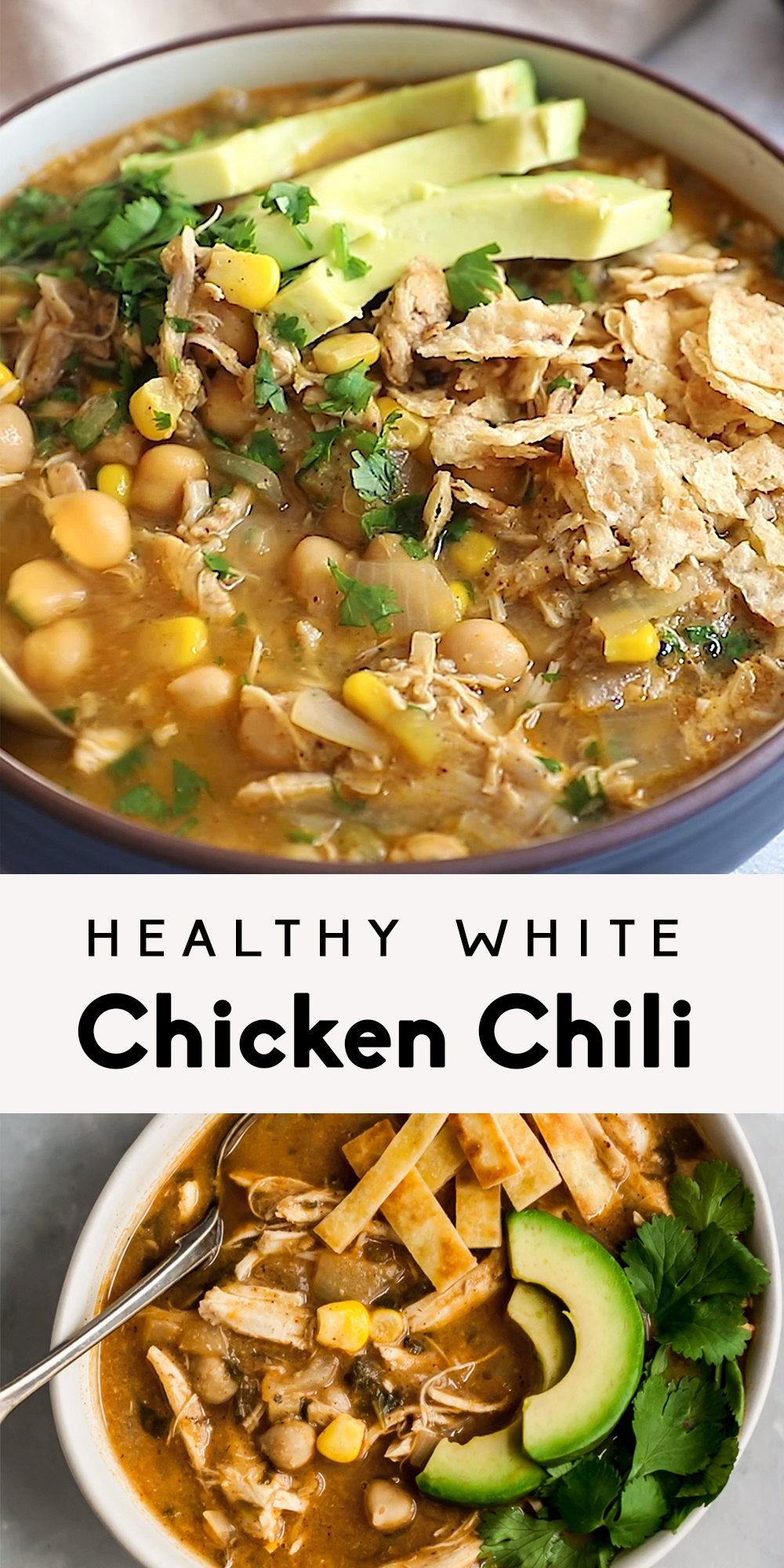 Healthy White Chicken Chili #healthydinnerrecipes Healthy white chicken chili that's nice and creamy, yet there's no cream! Made with green chile, chicken, corn and blended chickpeas to make it thick and creamy. This easy white chicken chili recipe can even be made in the slow cooker and is bound to become a new family favorite. Serve with avocado, tortilla chips and cilantro. #chili #gamedayfood #slowcooker #highprotein #healthydinner #mealprep #glutenfree #chickenrecipe #chickpeas #simpleicingrecipe