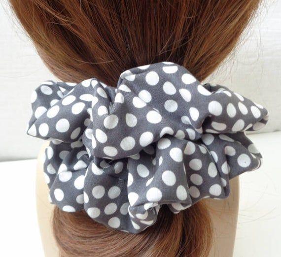 Scrunchies , scrunchy , scrunchie ,gray and white cotton Scrunchie, hair scrunchies Chouchou, hair accessories, handmade by ScrunchiesCo #hairscrunchie
