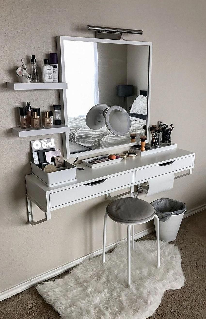 Small Floating Makeup Vanity Fits Into Even The Tiniest Bedroom Diybedroomideasforsmallroomsfloatingdesk Small Bedroom Decor Room Makeover Home Decor