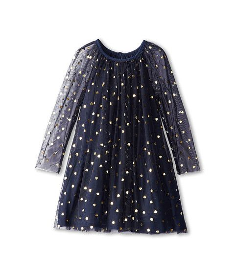 Stella McCartney Kids Misty Girls Tulle Dress w/ Gold Hearts (Toddler/Little Kids/Big Kids) Navy - Zappos Couture