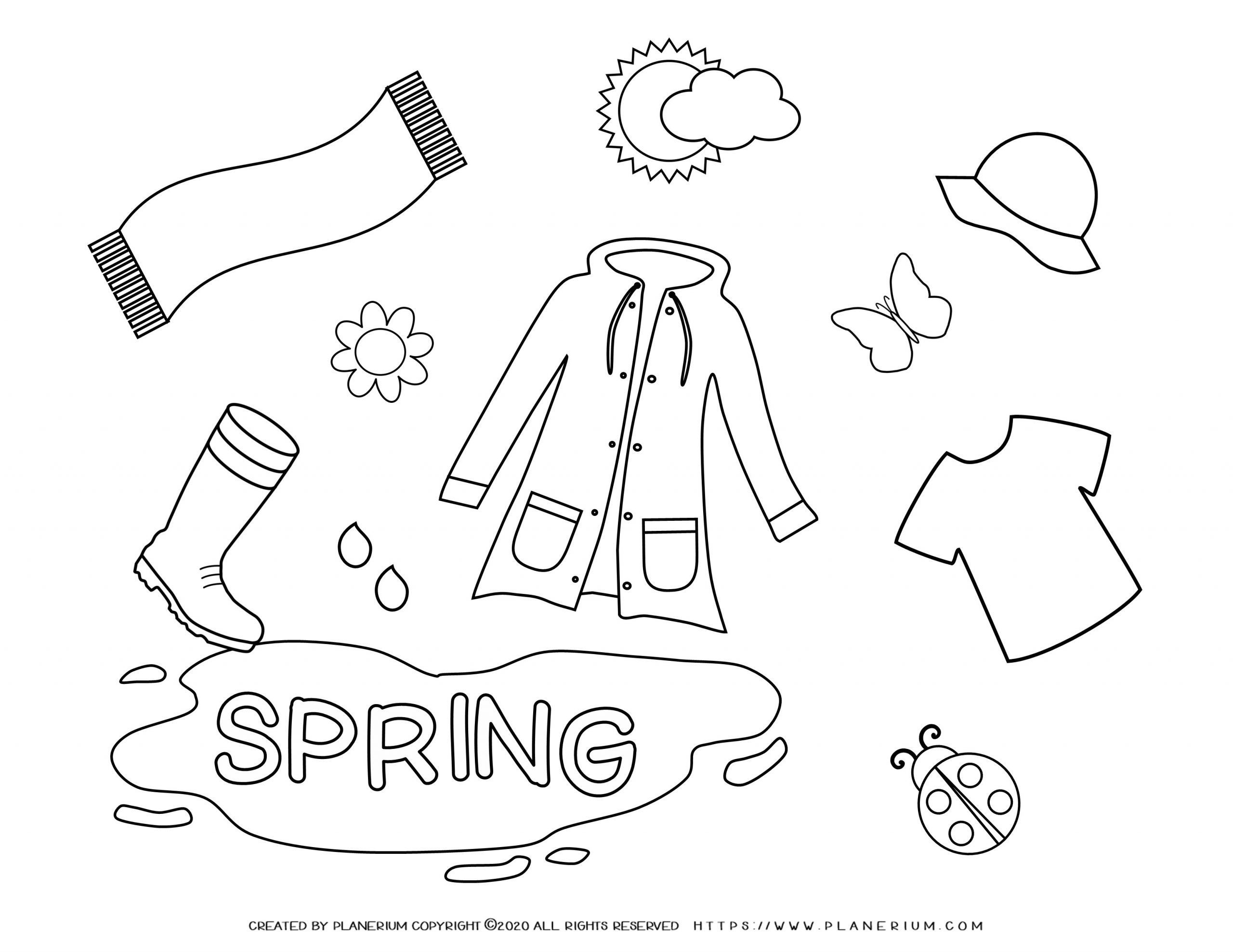 Spring Coloring Page Spring Season Clothes Planerium In 2021 Spring Coloring Pages Coloring Pages Free Coloring Pages