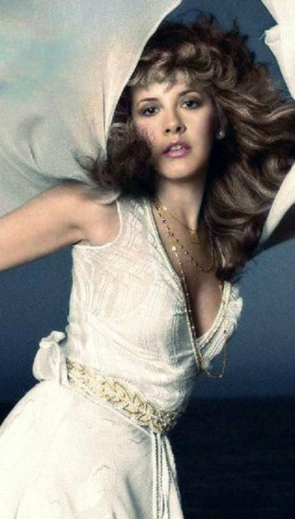 Stevie  ~ ☆♥❤♥☆ ~ wearing white and gold, with her white sheer chiffon shawl flying behind here