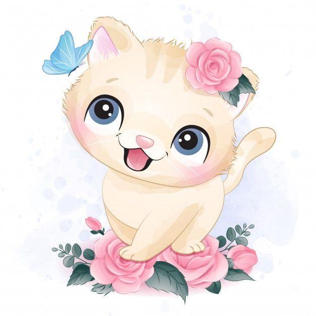 Ilustración Linda Del Retrato Del Pequeño Gatito
