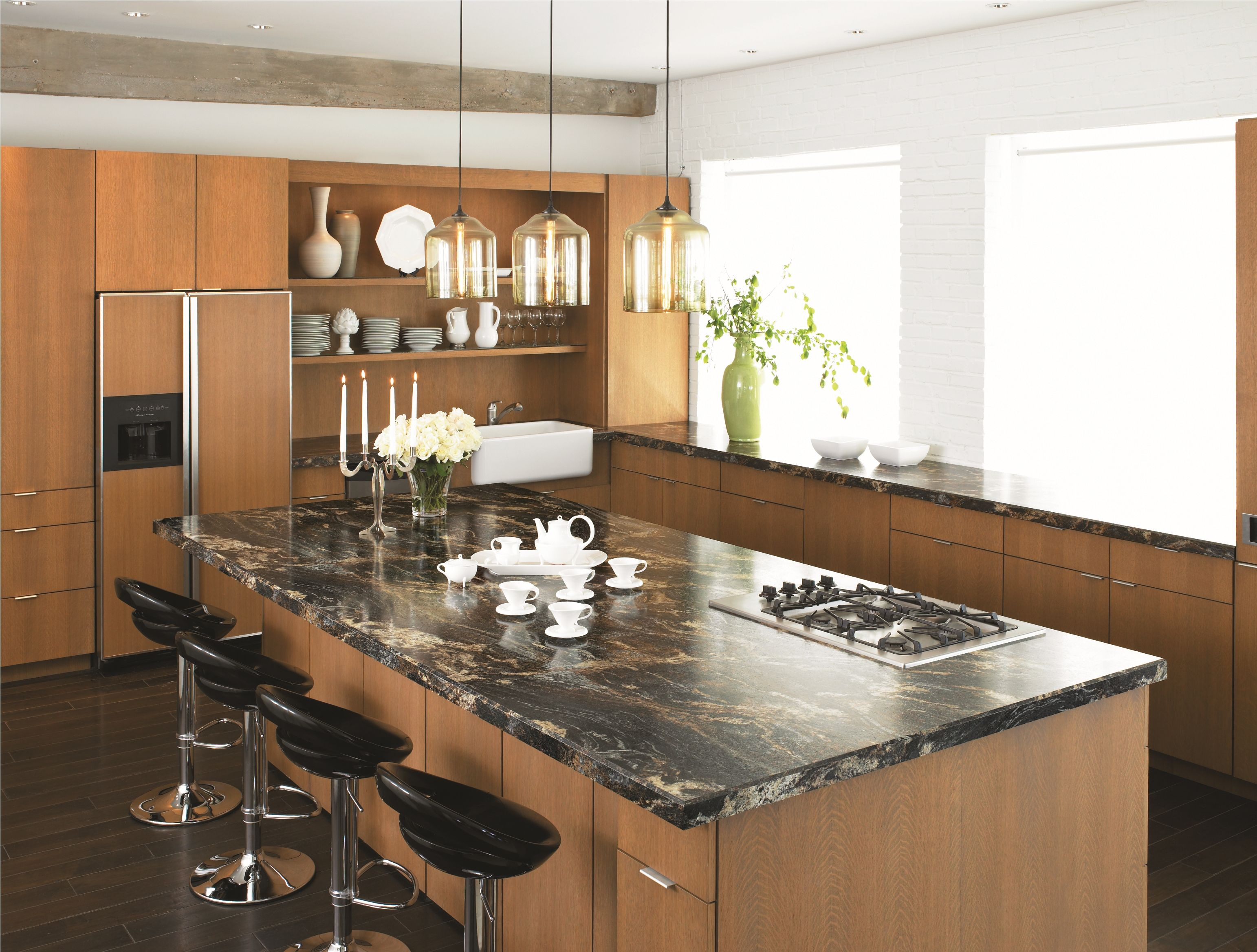 Awesome Image 15 Of 18 From Gallery Of Glossy And Clean Kitchen Countertop Design  Ideas. Stunning Modern Kitchen Features Brown Storm Glossy Laminate  Countertops ...