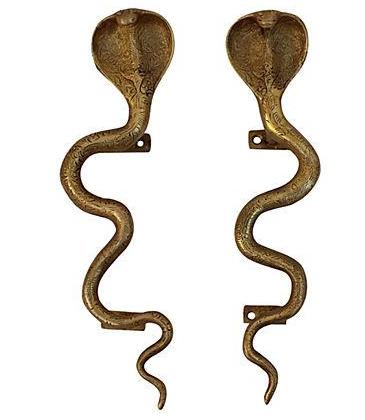 Gold Cobra Door Handles - Pair on Chairish.com