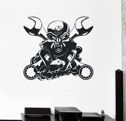 Wall Decal Engine For Car Mechanic Garage Decor Skull Vinyl - Custom vinyl wall decals for garage