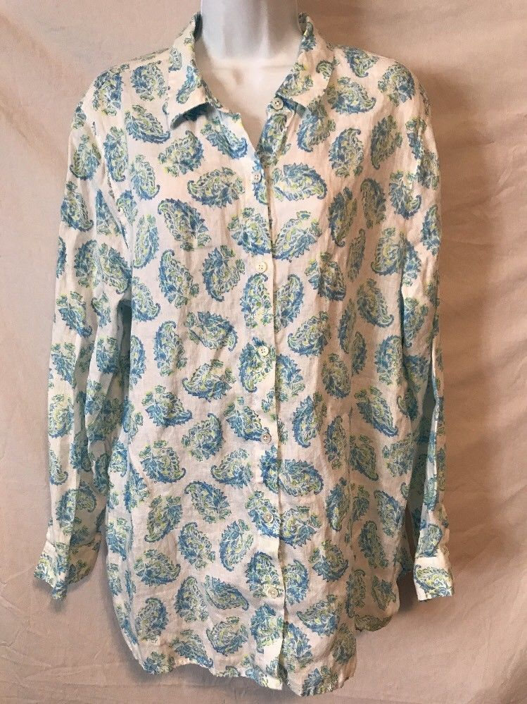 76f1be51e J. Jill Love Linen Large L White Blue Yellow Pattern Button Down Shirt Top # JJill #ButtonDownShirt
