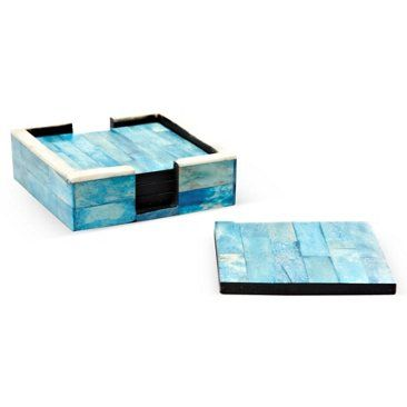 Check out this item at One Kings Lane! S/4 Ocean Blue Bone Coasters w/ Holder. $35
