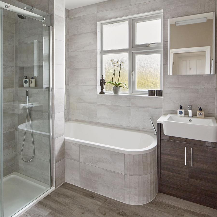 Modern Grey Bathroom Makeover With Separate Shower And Bath For Bathroom Ideas W Bath Bathroom Gre Small Bathroom With Bath Shower Cubicles Small Bathroom
