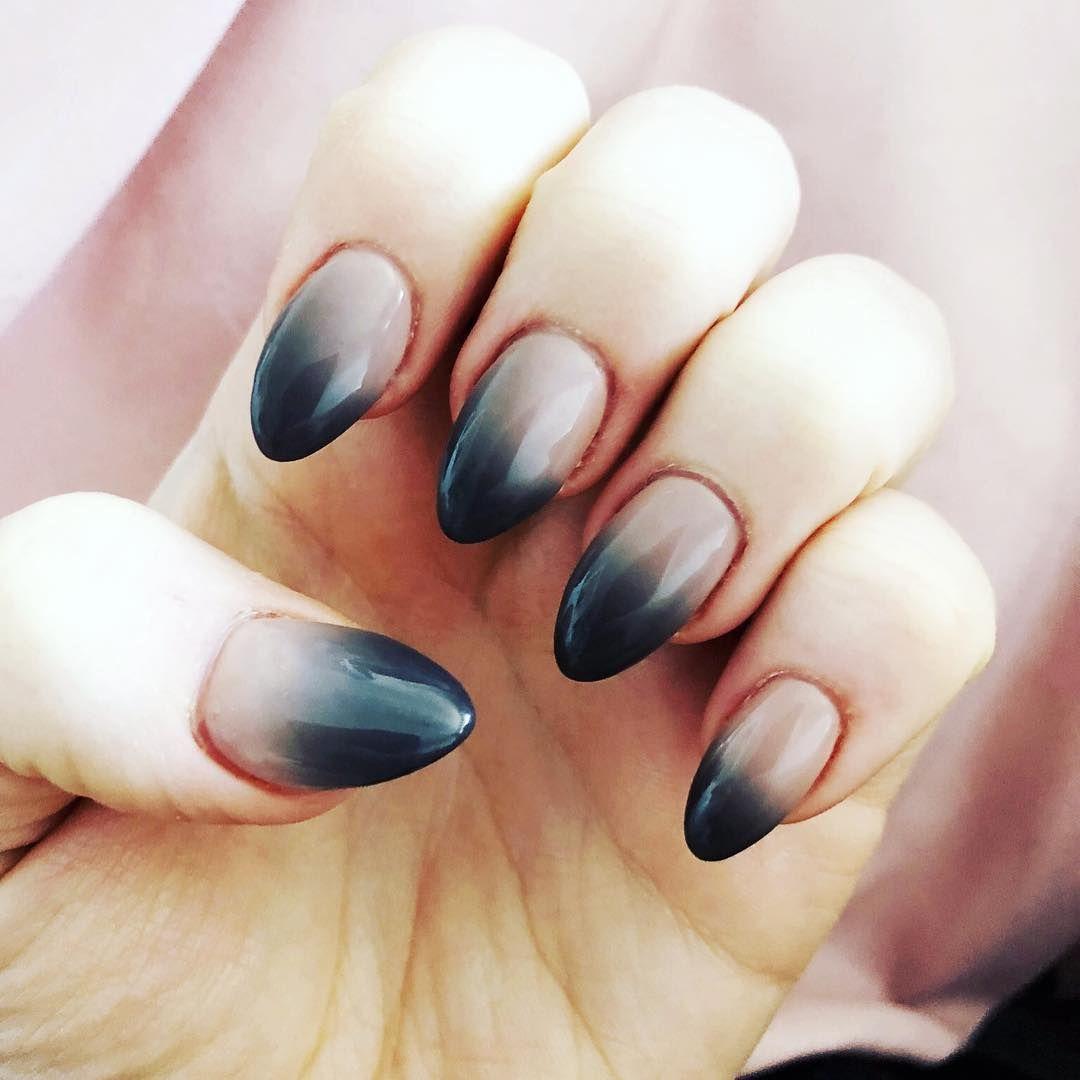 Kiara Sky Ombre Mood Acrylic Almond Shaped Nails. Pink Grey | Claws ...