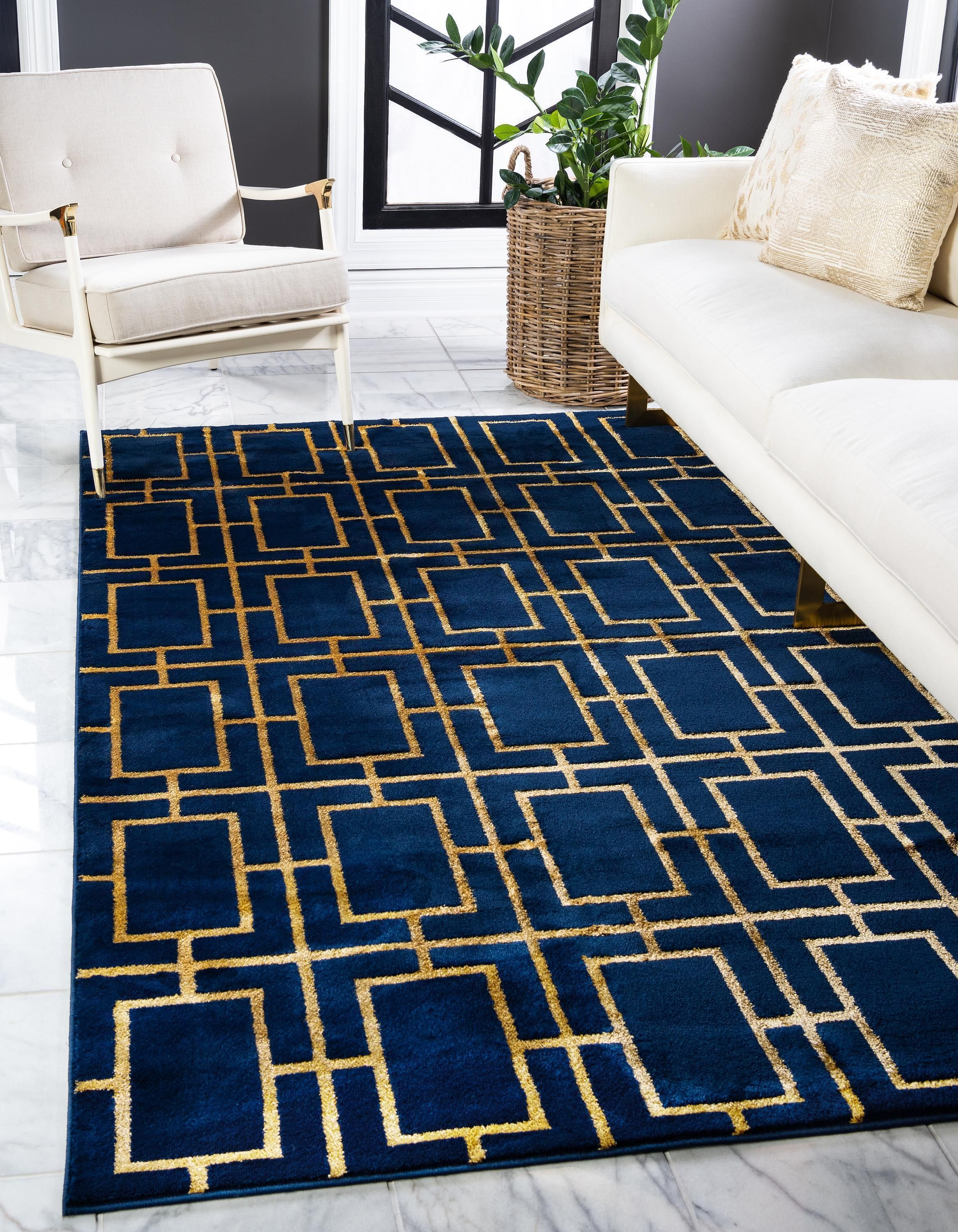 Parker Cube Pattern Luxury Rug In 2021 Blue And Gold Living Room Luxury Rug Gold Living Room