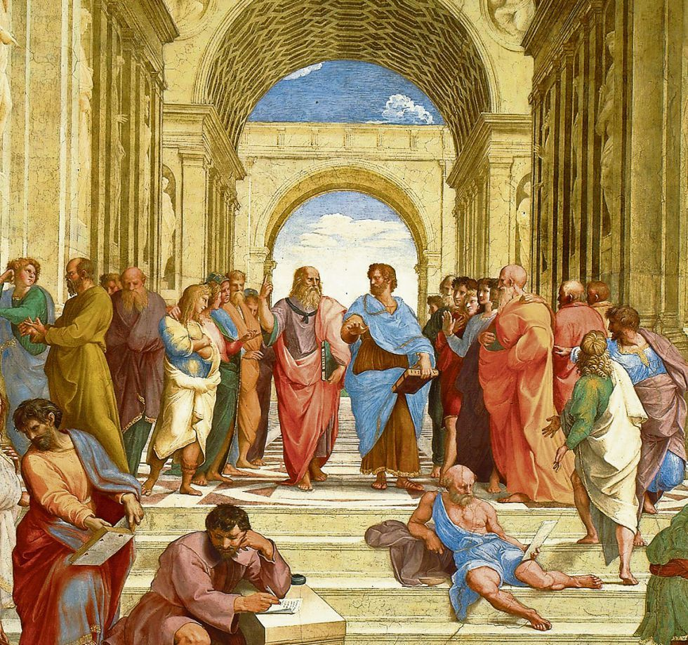 """Platón y Aristóteles representados por Rafael en """"La escuela de ..."""