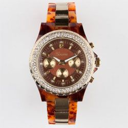 Special Offers Available Click Image Above: Geneva Rhinestone Tortoiseshell Watch