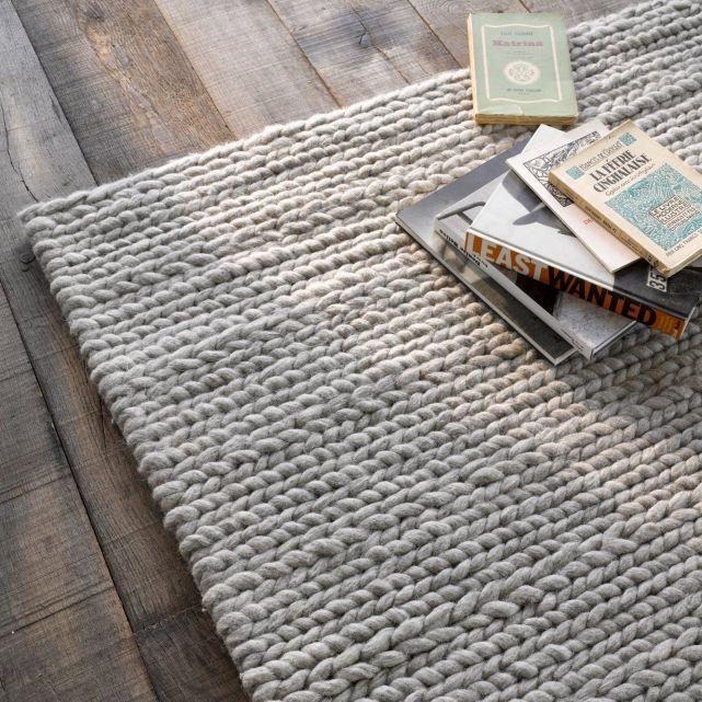 Tapis en pure laine, effet maille tressée, 3 tailles, Diano, La Redoute
