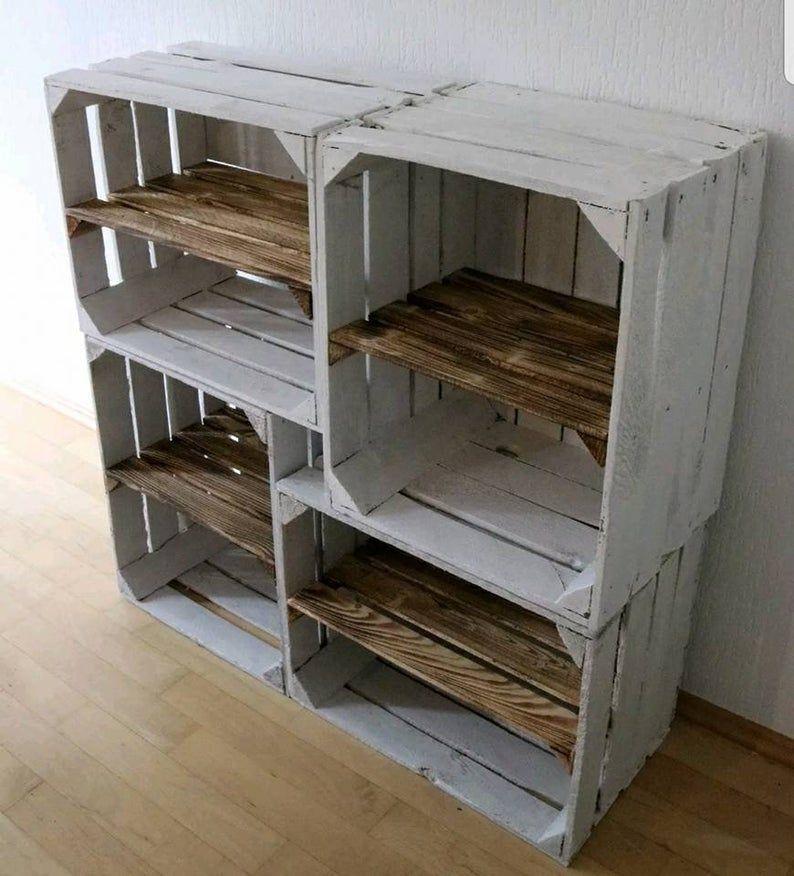1960's VINTAGE WOODEN SHOE Rack White Crate Burnt Rustic | Etsy