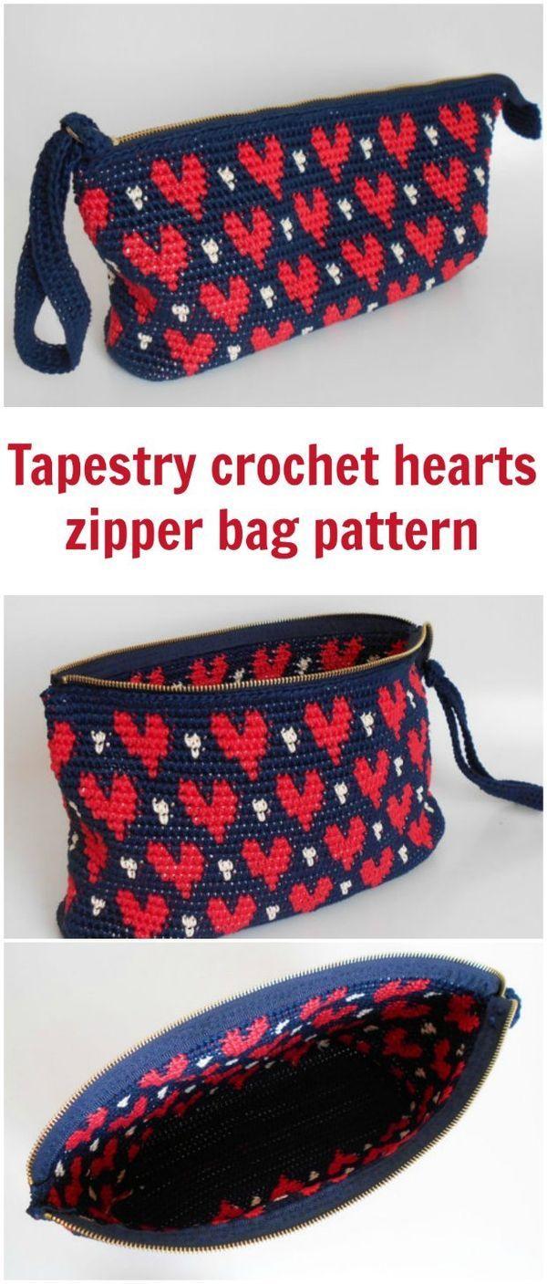 Tapestry crochet pattern for this heart pattern zipper clutch bag ...