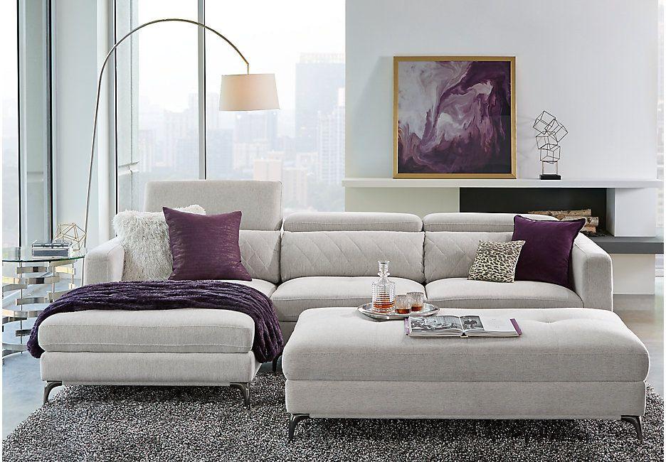 Sofia Vergara Sorrento Dove 2 Pc Sectional Rooms To Go Living Room Sets Furniture Purple Living Room Brown Sofa Living Room
