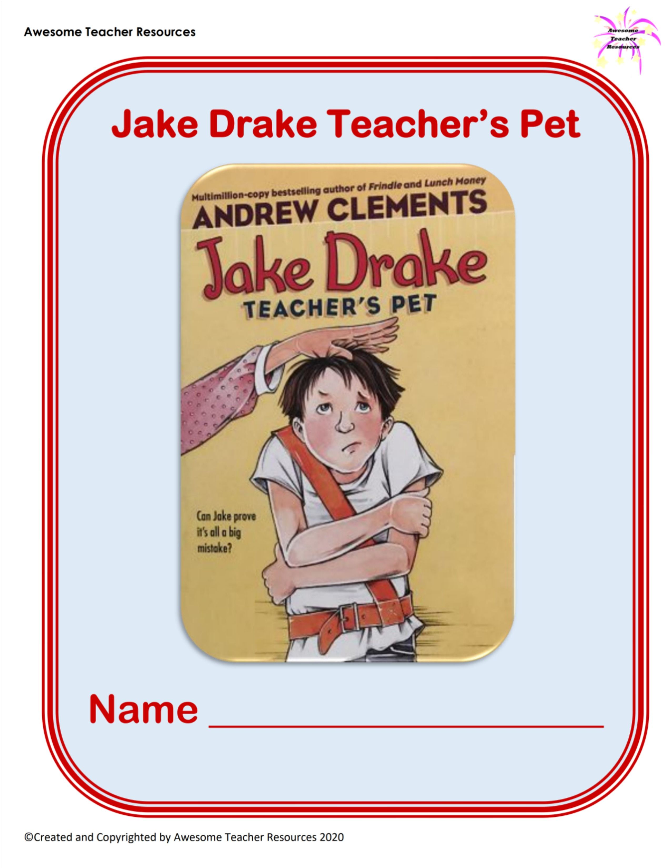 Jake Drake Teacher S Pet Book Study Packet In