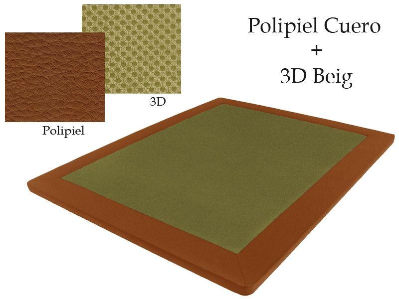 Base Tapizada Polipiel Cuero + 3D Beig