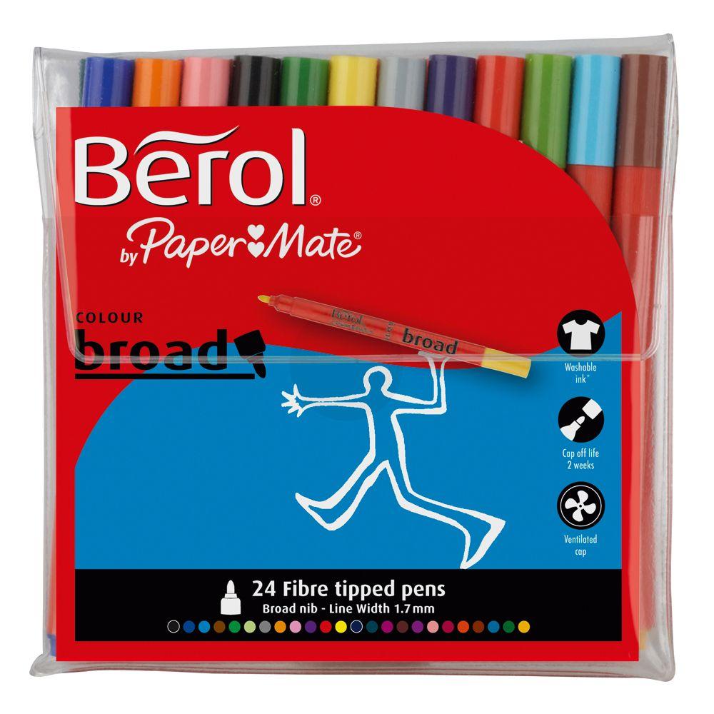 Berol Colourbroad -huopakynässä on paksu ja kestävä, pyöreä kärki. Soveltuu kaikenlaisiin väritystöihin; ihanteellinen suurien pintojen värittämiseen, mutta sopii myös piirtämiseen ja jopa kirjoittamiseen. Tussit voivat olla korkitta jopa 14 päivää kuivumatta!    #tussit #piirrustus  #maalaus #vesiliukoinen #marker #felttippen #drawing #coloring #berol