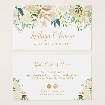 Watercolor Chic Floral Gold Wedding Event Planner Business Card Zazzle Com Event Planner Business Card Wedding Event Planner Makeup Artist Business Cards