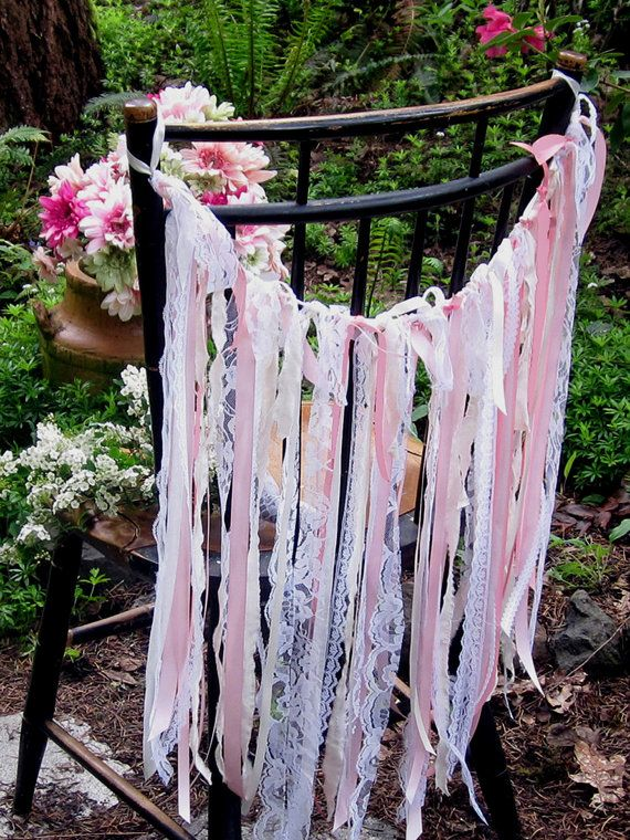 Shabby Chic Fabric Garland Pink and Cream by ...