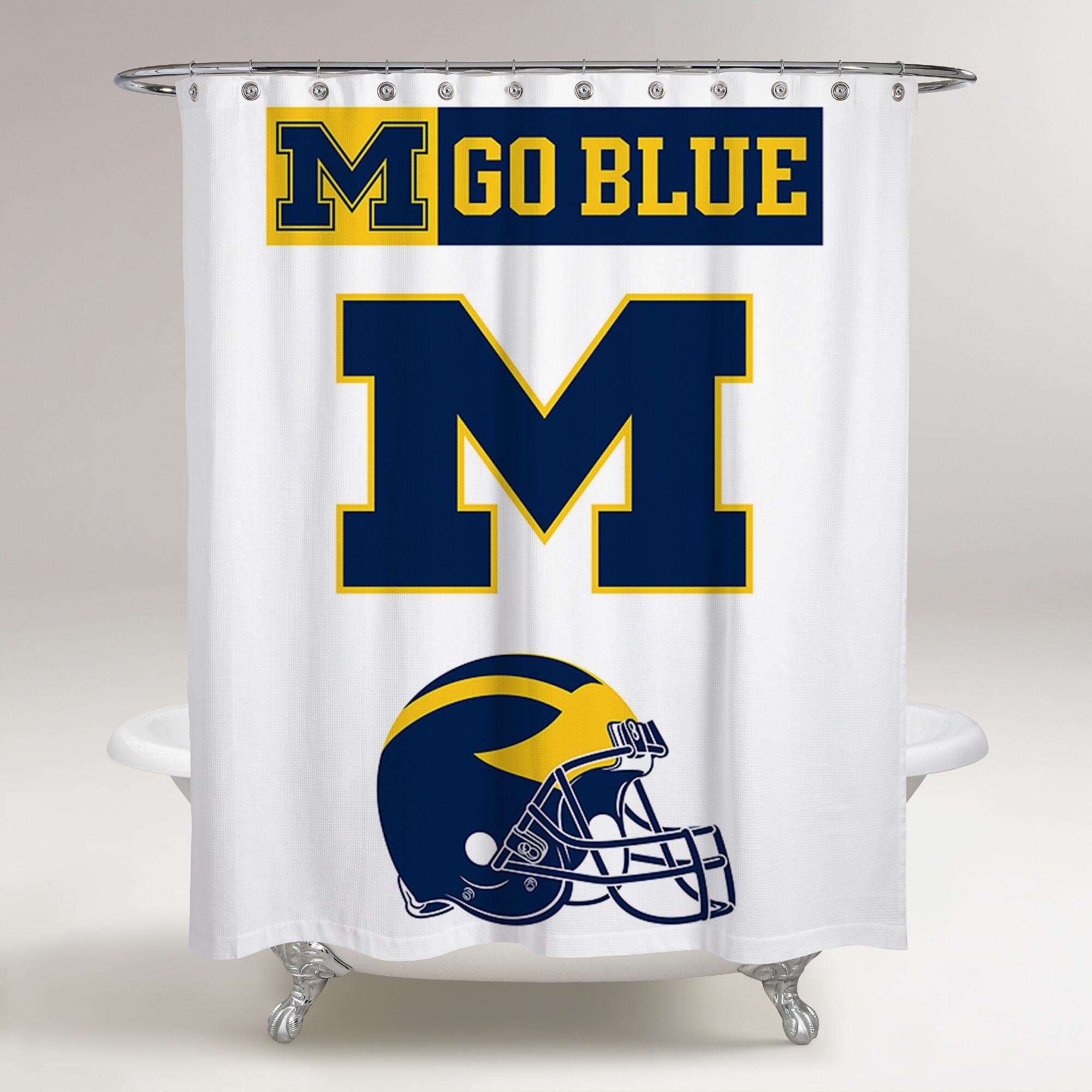 Michigan Wolverines Logo Go Blue Printed Shower Curtain Bathroom Decor Price Free Shipping Posters Bathroom Shower Curtains Go Blue Michigan Wolverines