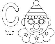C is for Clown Coloring Page for a Circus Theme from