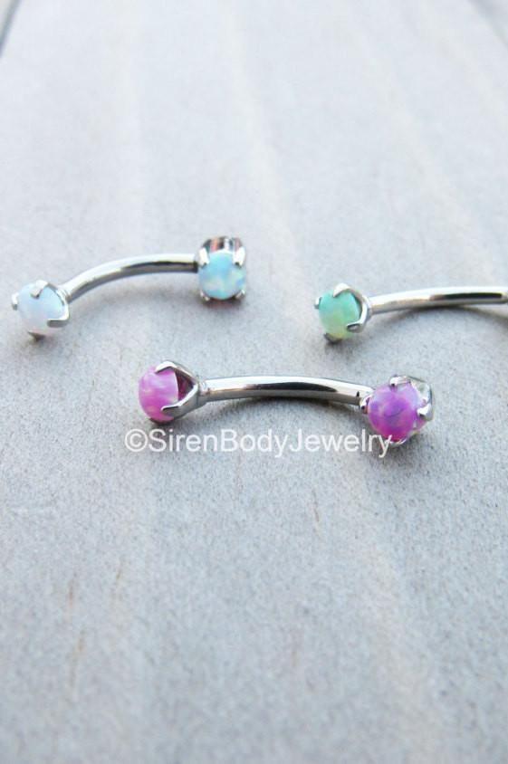 Opal Eyebrow Piercing Small 3mm Opal Dainty Earring White Opal Rook Earring 16g 8mm 316L Surgical Steel Silver Rook Jewelry