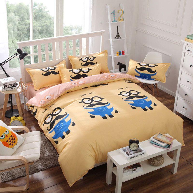 Minion Zip Single Queen King Größe Bettwäsche Kissenbezug Bettbezug