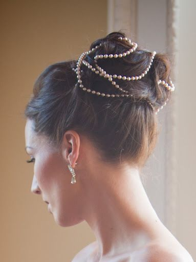 Wedding up do using necklaces to create this stunning look by Lovehair www.lovehair.co.uk