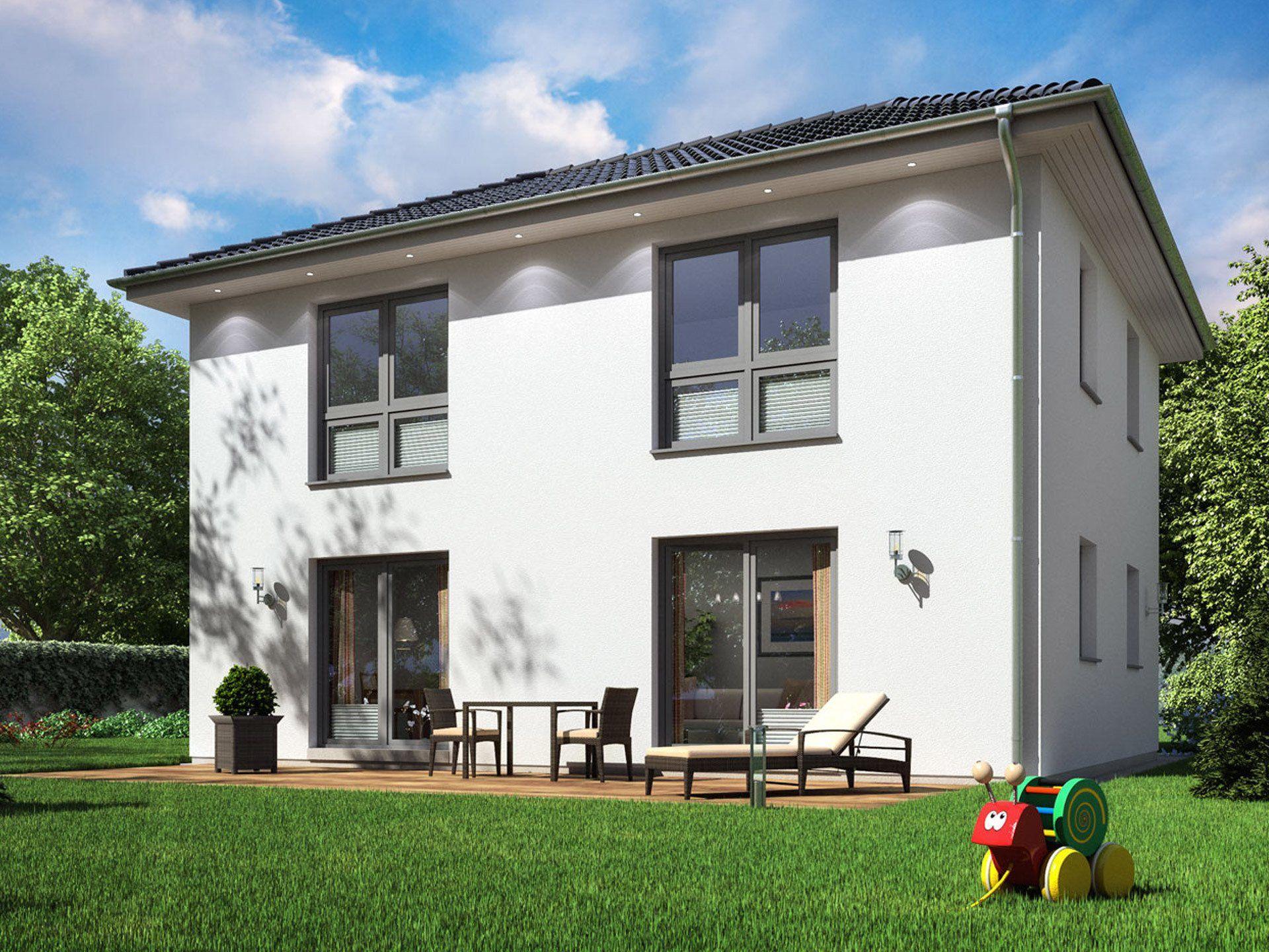 stadtvilla sh 125 s stadtvilla von scanhaus marlow modernes fertighaus mit walmdach und 125. Black Bedroom Furniture Sets. Home Design Ideas