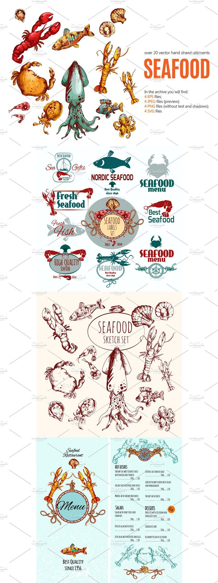 Seafood Sketch Set in 2020 How to draw hands, Menu