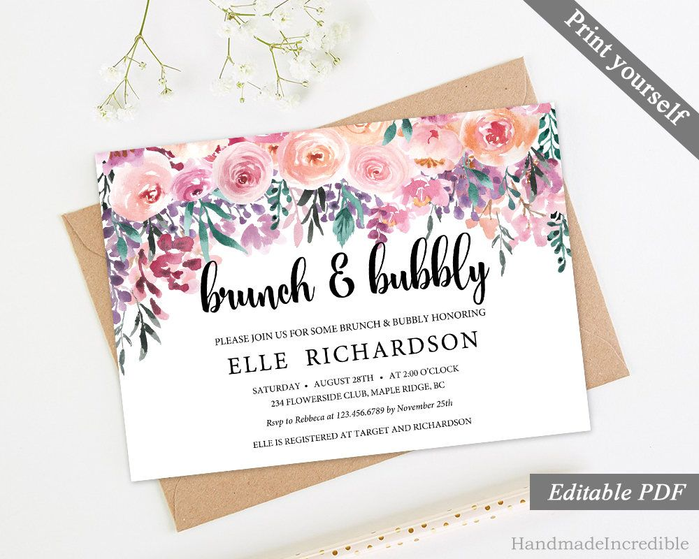 Floral Brunch And Bubbly Invitation Template Printable Pink Flower - Purple bridal shower invitations templates