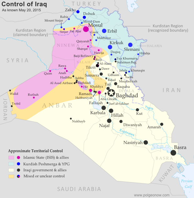 Detailed map of territorial control in Iraq as of May 20, 2015 ...