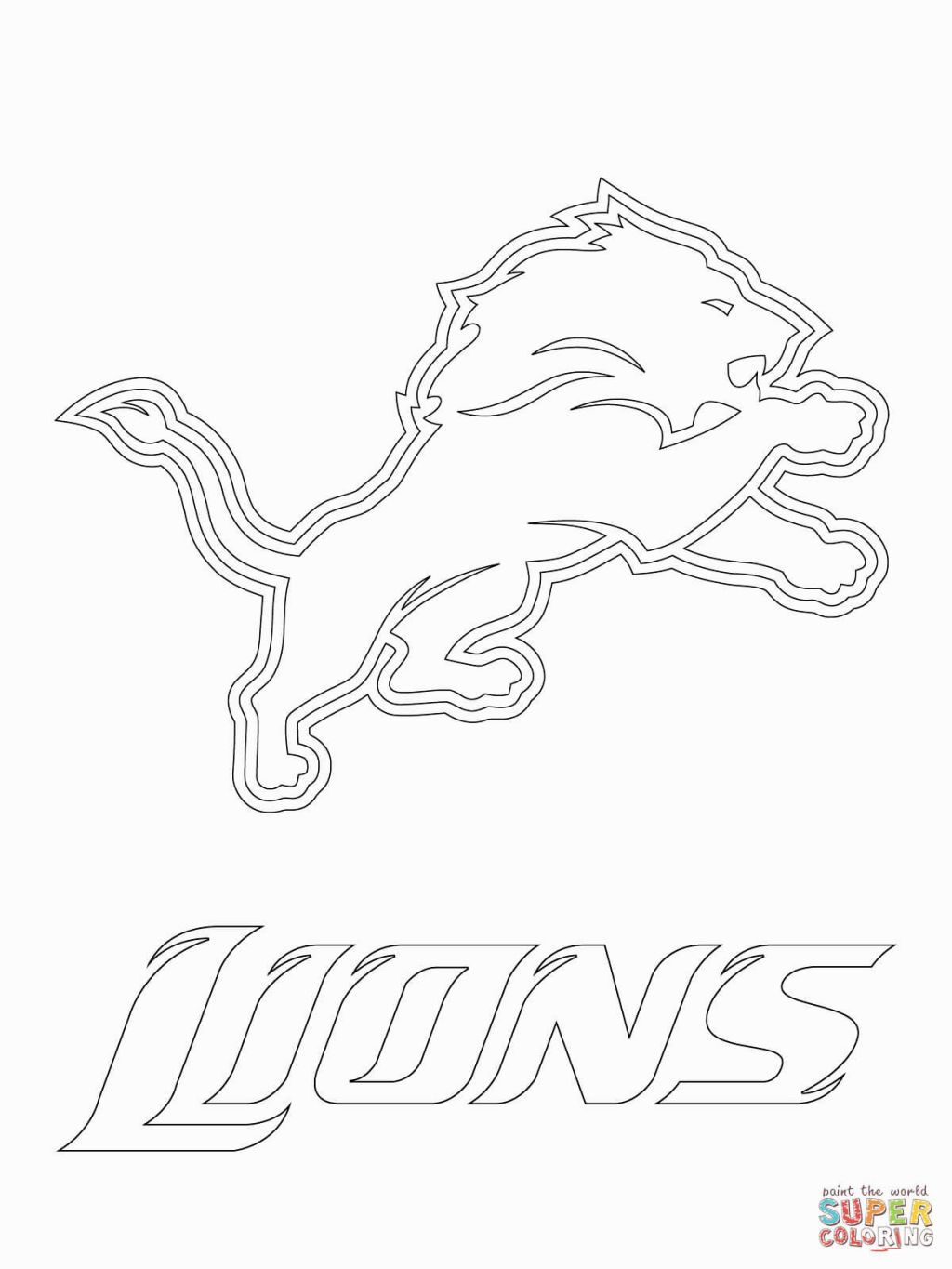 Logo Coloring Football Coloring Pages Detroit Lions Logo Sports Coloring Pages