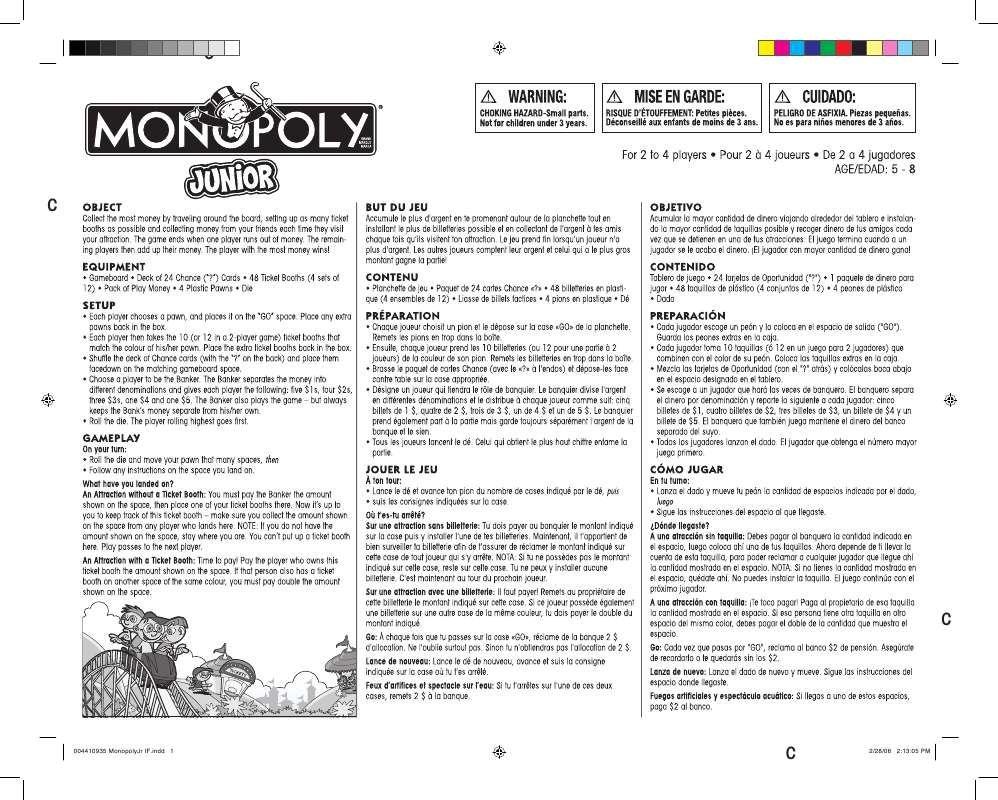 Instrucciones Del Famoso Juego De Mesa Llamado Monopoly Estas