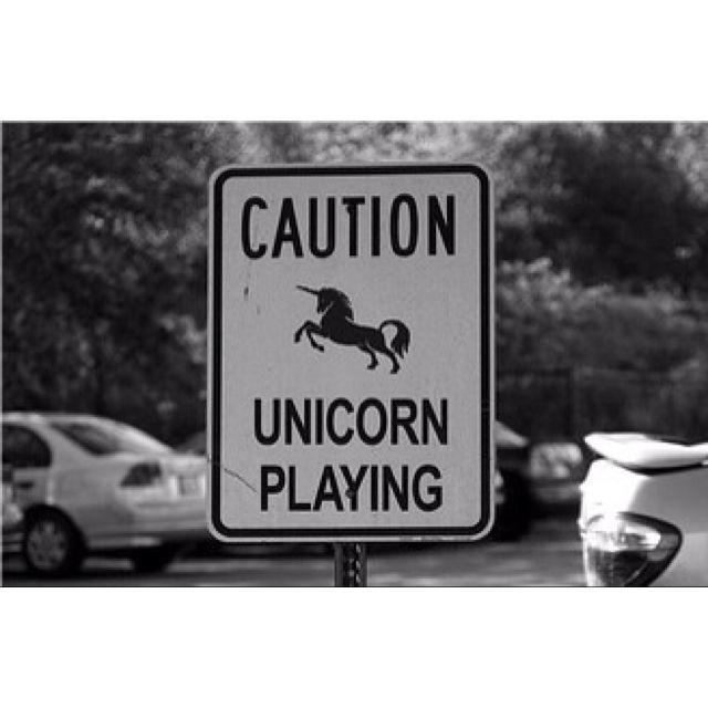 Caution Unicorn Playing Sign