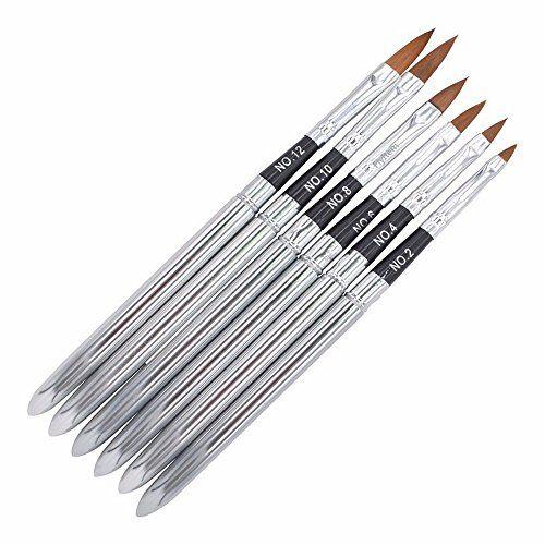 Flyitem 6 Pcs Set Professional Pointed Detachable Uv Gel Brushes Set Acrylic Nail Art Design Builder Diy Na Acrylic Nail Brush Nail Art Brushes Diy Nails Tools