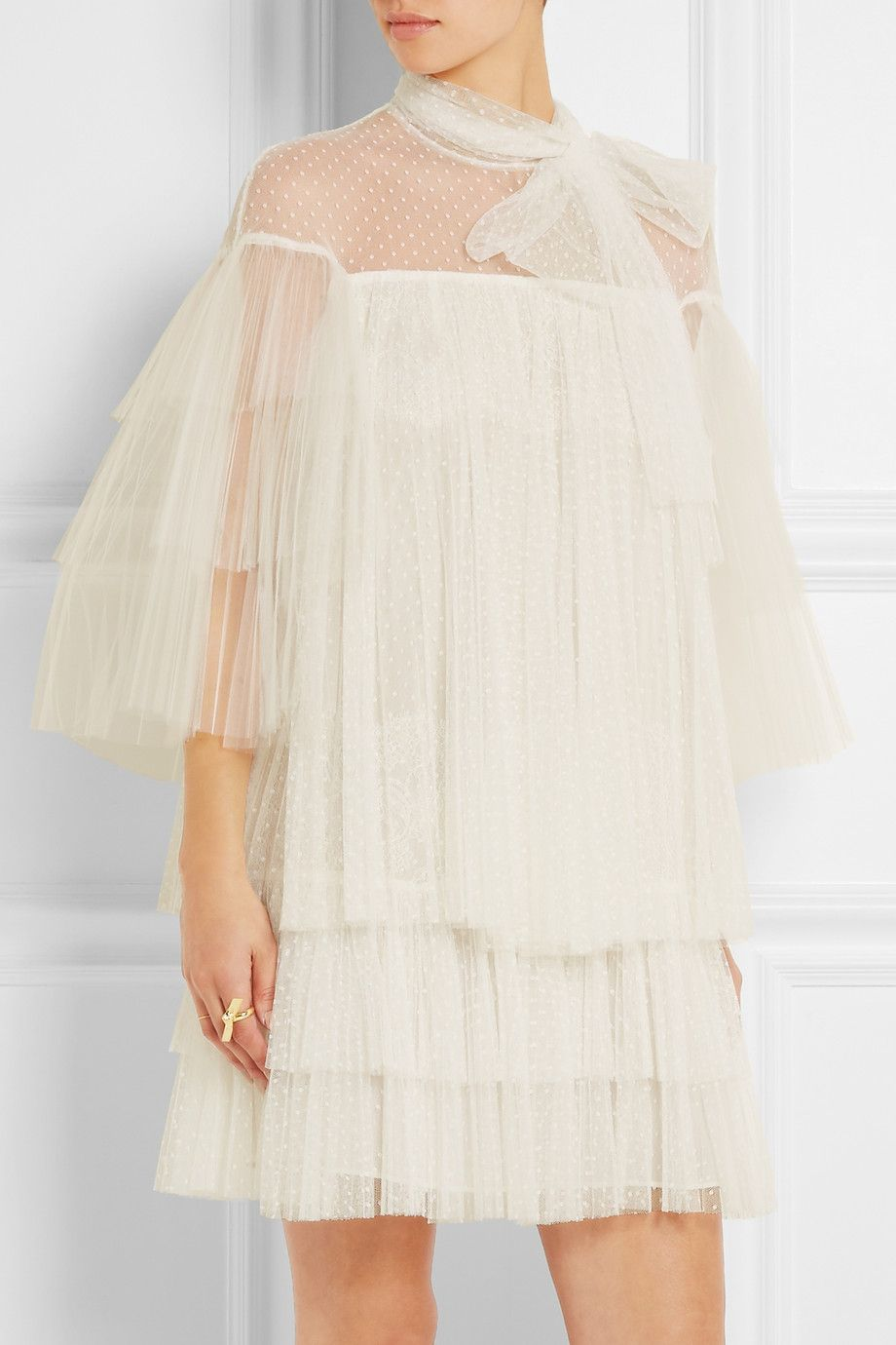 Valentino Tiered Point D Esprit Lace And Tulle Mini Dress Mini Robe Robe Haute Couture [ 1380 x 920 Pixel ]