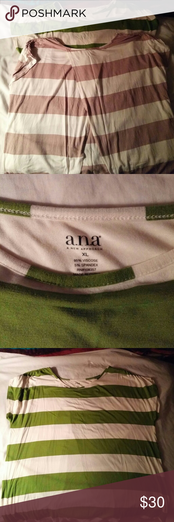Open back shirt Set of 2 shirts with open back. Short to no sleeve. NWT GREEN one only.. Tan shirt wore once.. Both are in mint condition. Ana Tops