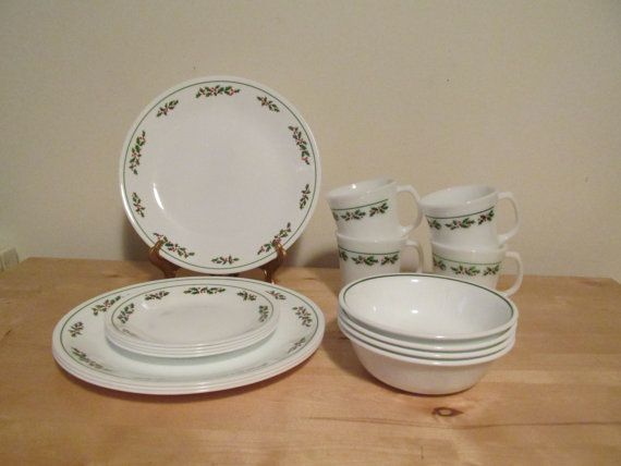 Set of Vintage Corelle Winter Holly Christmas Dishes