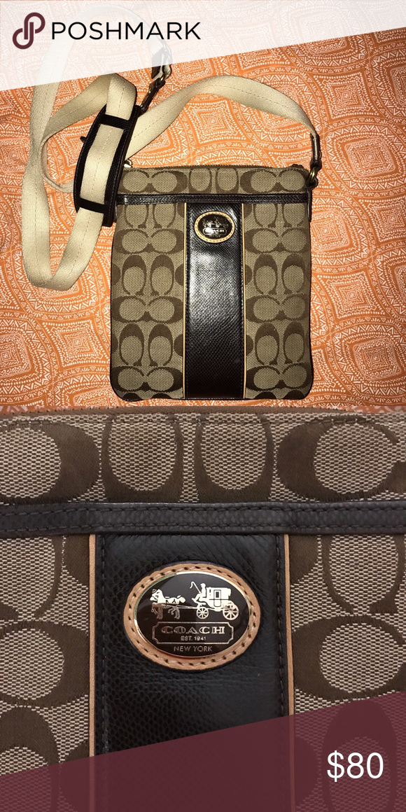 Coach cross body Authentic Coach cross body. This purse is in great condition, just some normal wear on the strap, otherwise as seen, leather and fabric is great! •would be willing to sell wallet and cross body together for a discounted price• Coach Bags Crossbody Bags