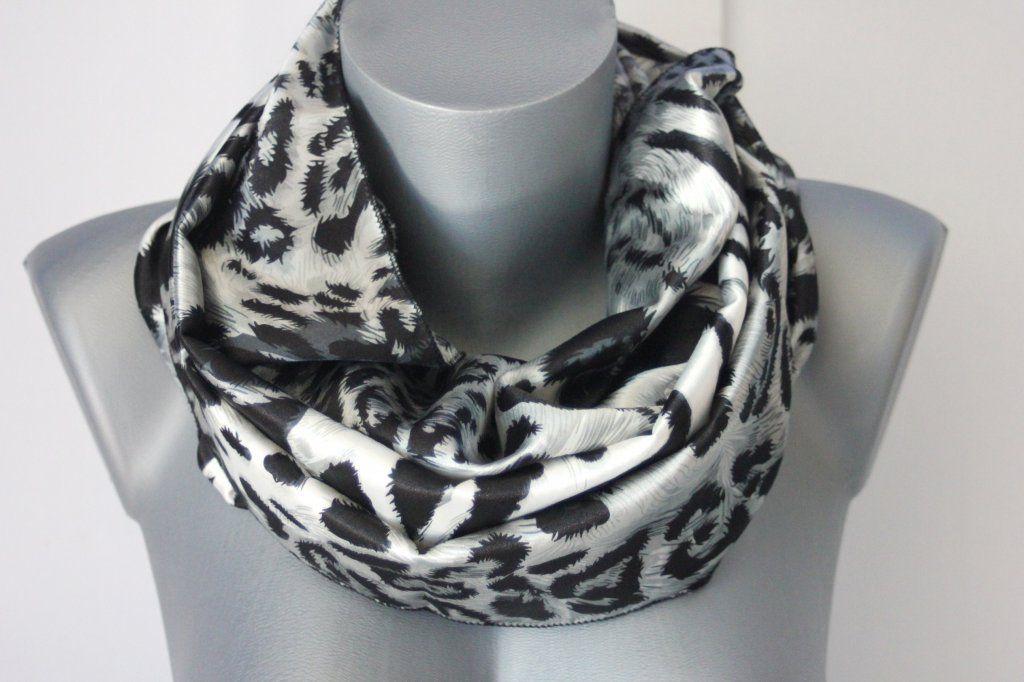 Foulard snood imprimé léopard noir et gris - emmafashionstyle.fr ... 62ec1e32c08
