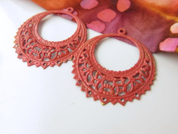 Red patinated raw brass filigree large hoop earring by Metapolies, $10.00 https://www.etsy.com/listing/198902296/red-patinated-raw-brass-filigree-large?ref=shop_home_active_12