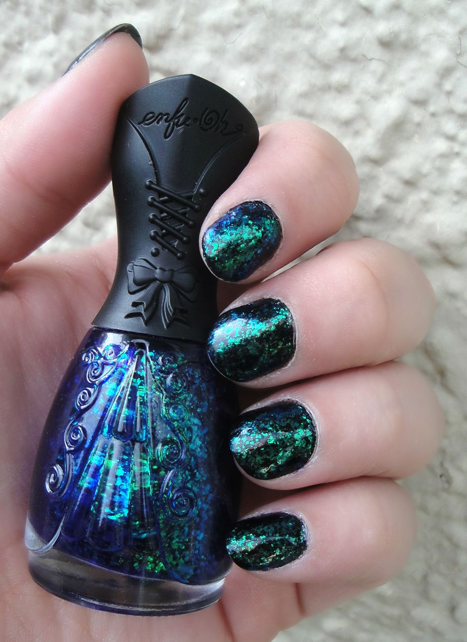 Nfu oh! blue and green flake polish. This is the prettiest nail ...