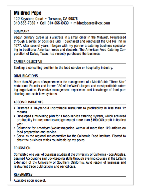 Example Of Hospital Food Resume Examples Resume Cv