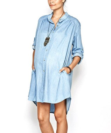 Look what I found on #zulily! Light Blue Emily Maternity Button-Up Tunic by Imanimo #zulilyfinds