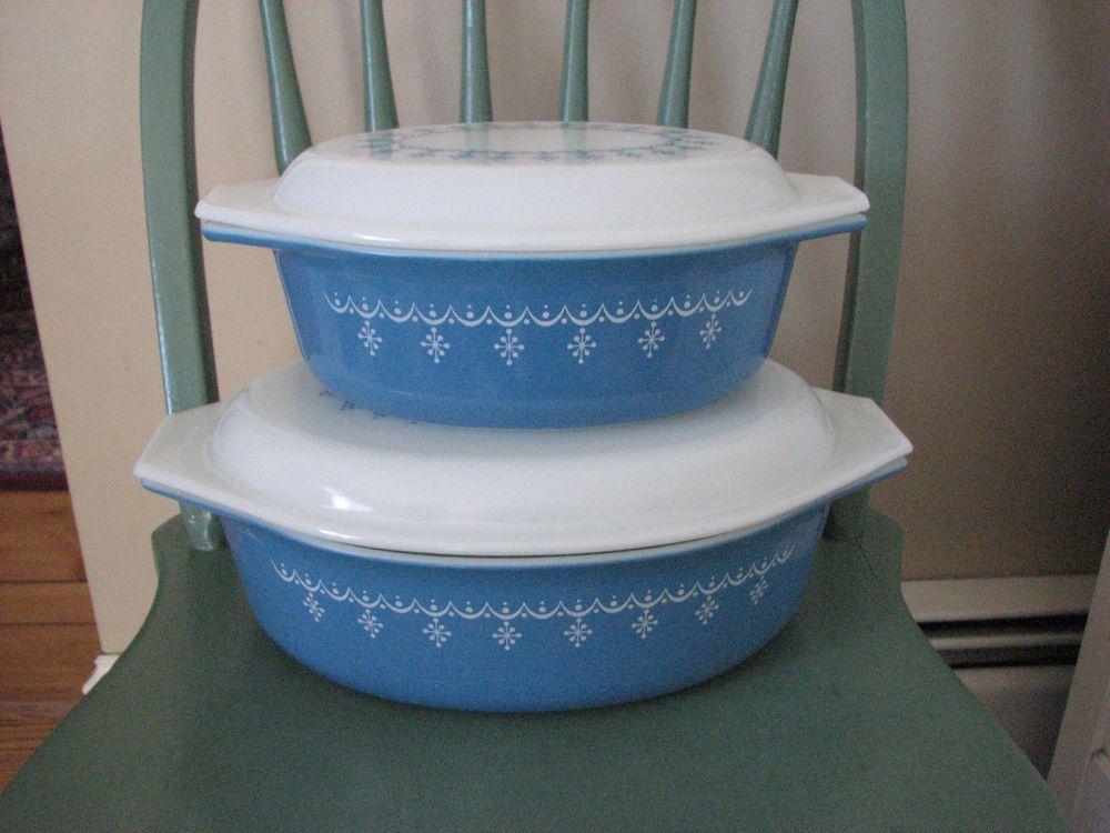 2 Vintage Pyrex Compatibles Blue Snowflake 2-1/2 Qt & 1-1/2 Qt Oval Casseroles