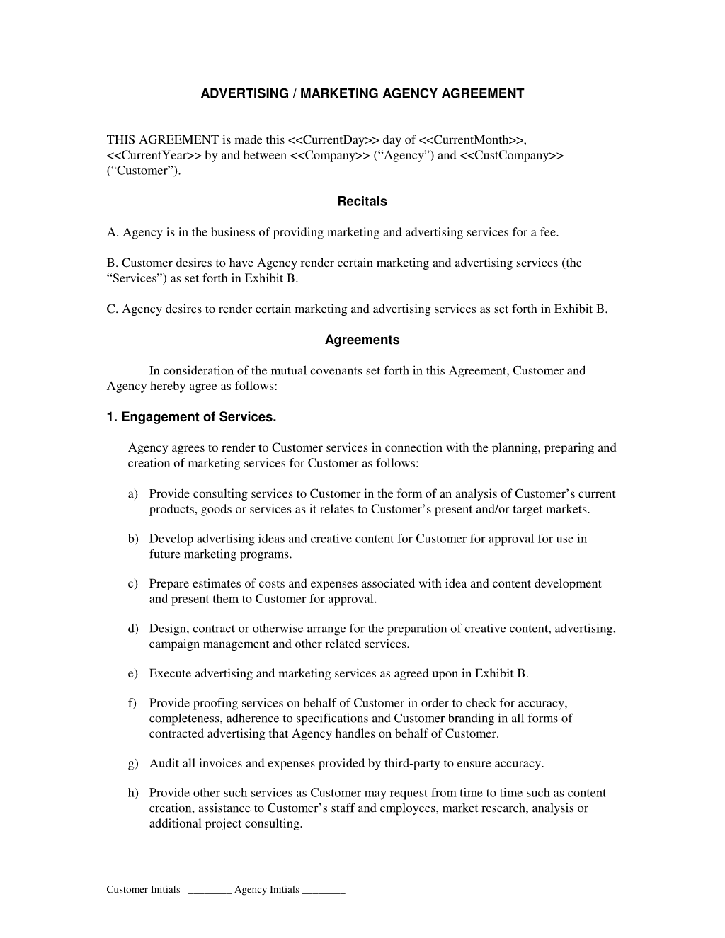 Advertising and Marketing Agency Contract – Booking Agent Contract Template